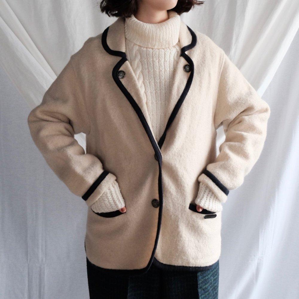 [VINTAGE] Black Piped Boiled Wool Jacket