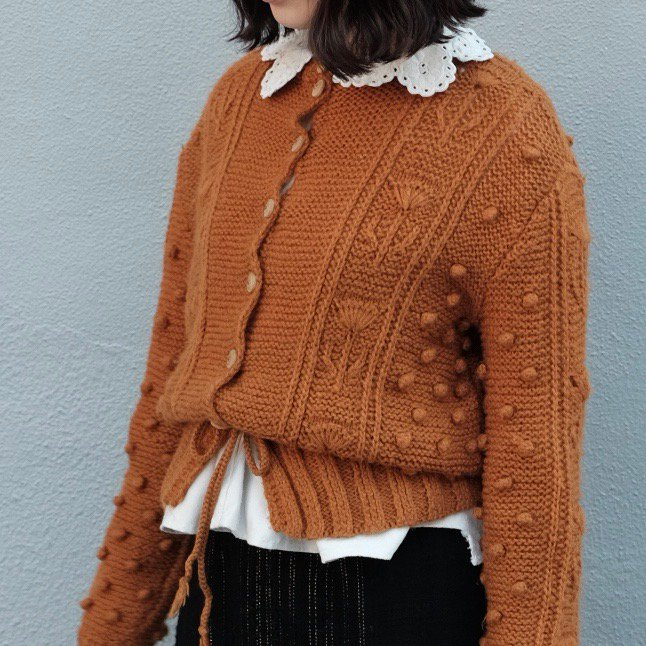 [VINTAGE] Orange-brown Popcorn Cardigan