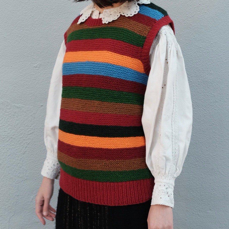[VINTAGE] Retro Stripes Knitted Vest