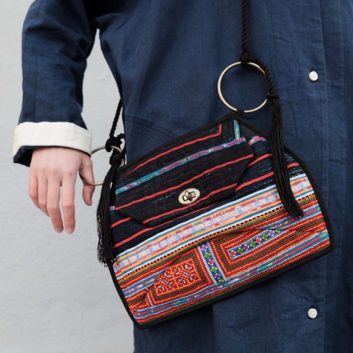 Vietnamese Tribal Textile Ring Bag - B by suie