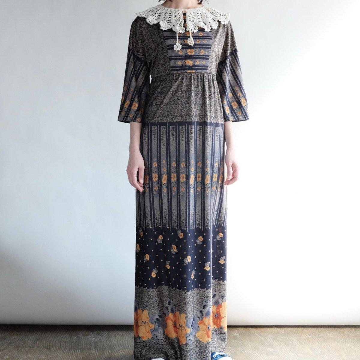 [VINTAGE] Multi Floral Printed Maxi Dress