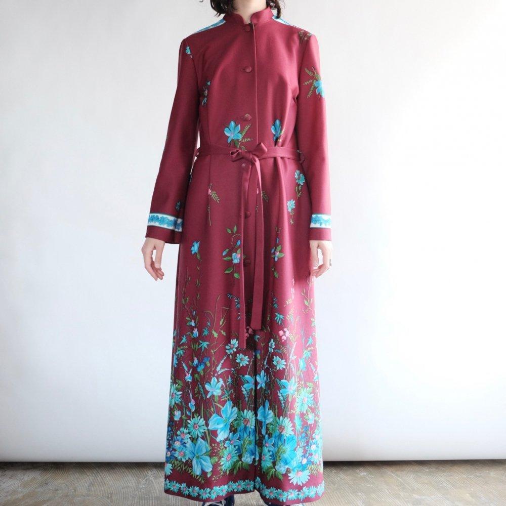 [VINTAGE] Botanical Azuki Red Maxi Gown