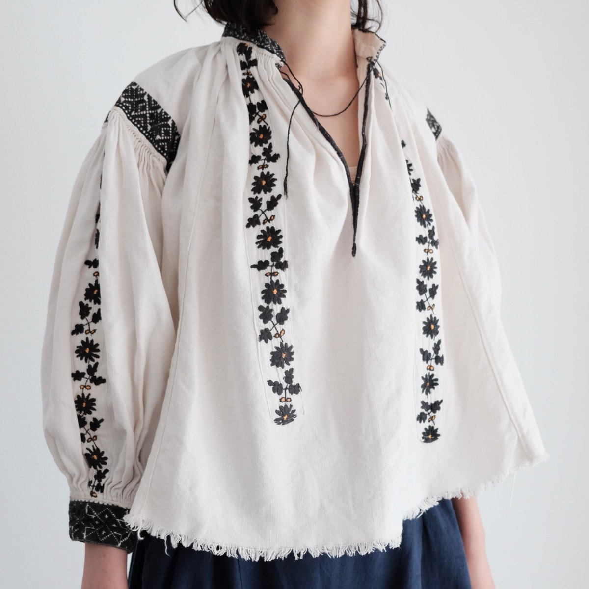 [VINTAGE] Romanian Black Daisy Embroidered Dress