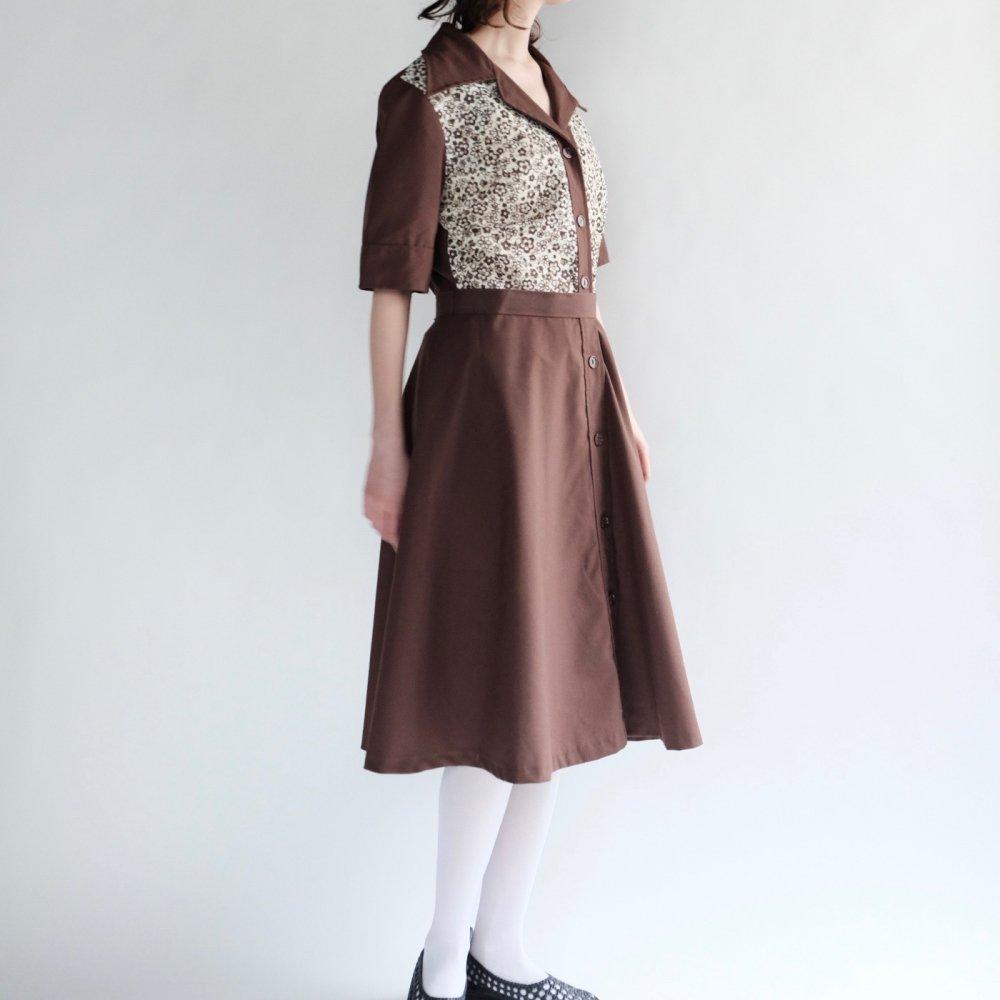 [VINTAGE] Lacy Accent Nut-brown Dress
