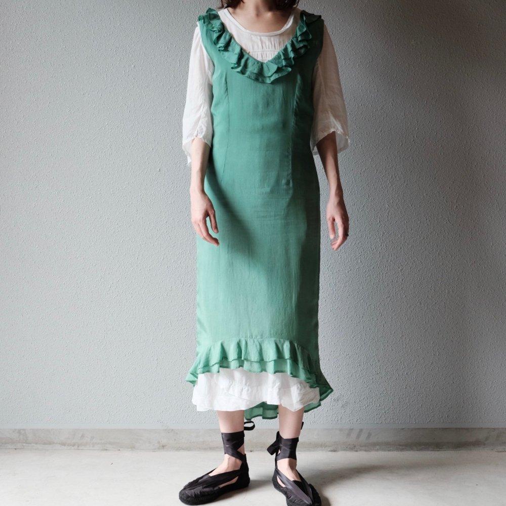 [VINTAGE] Cucumber green silk dress