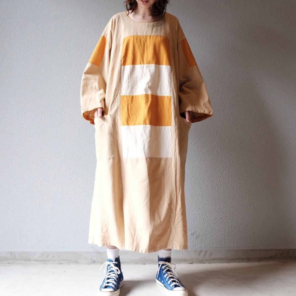 [VINTAGE] Shimashima Pattern Tangerine Dress