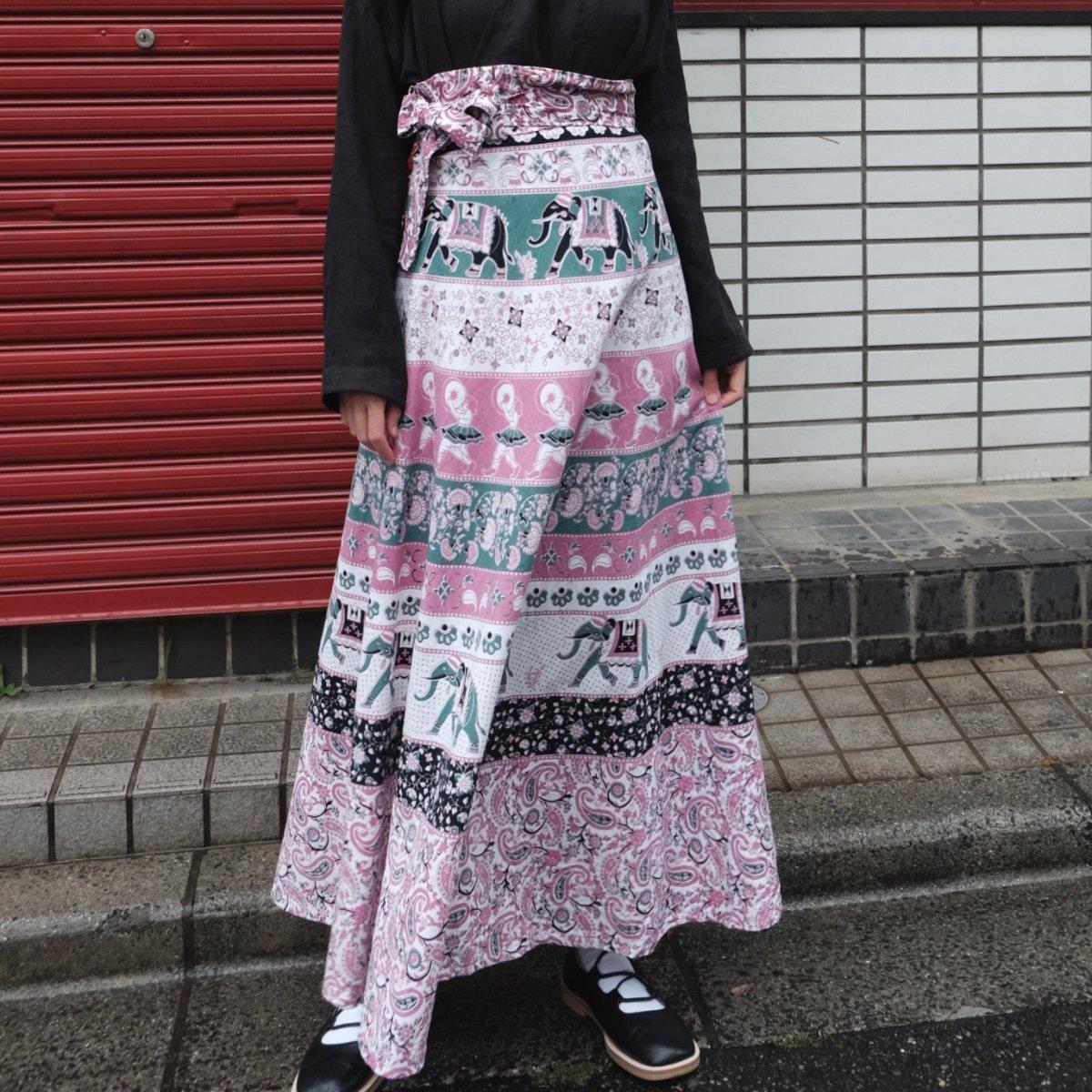 [VINTAGE] Pink Elephant Wrap Skirt