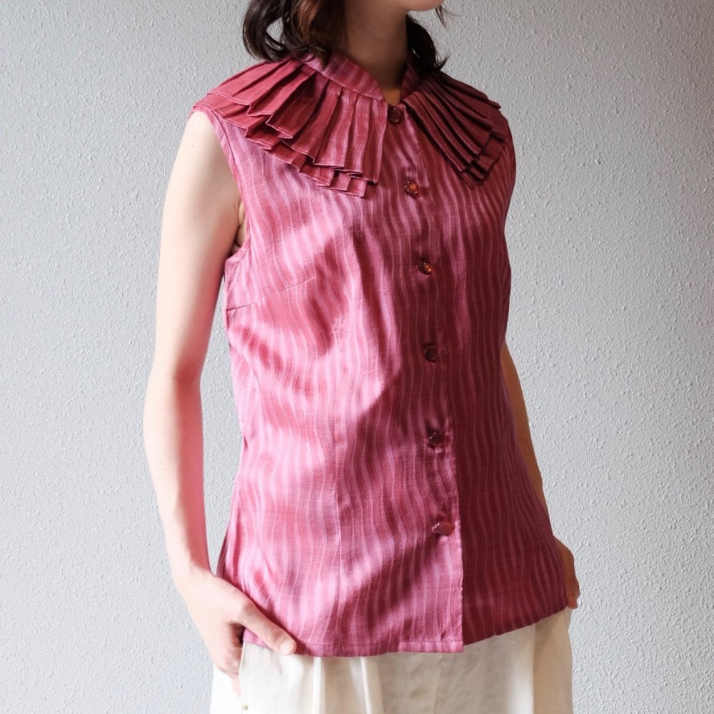 [VINTAGE] Pink Pleated Collar Blouse