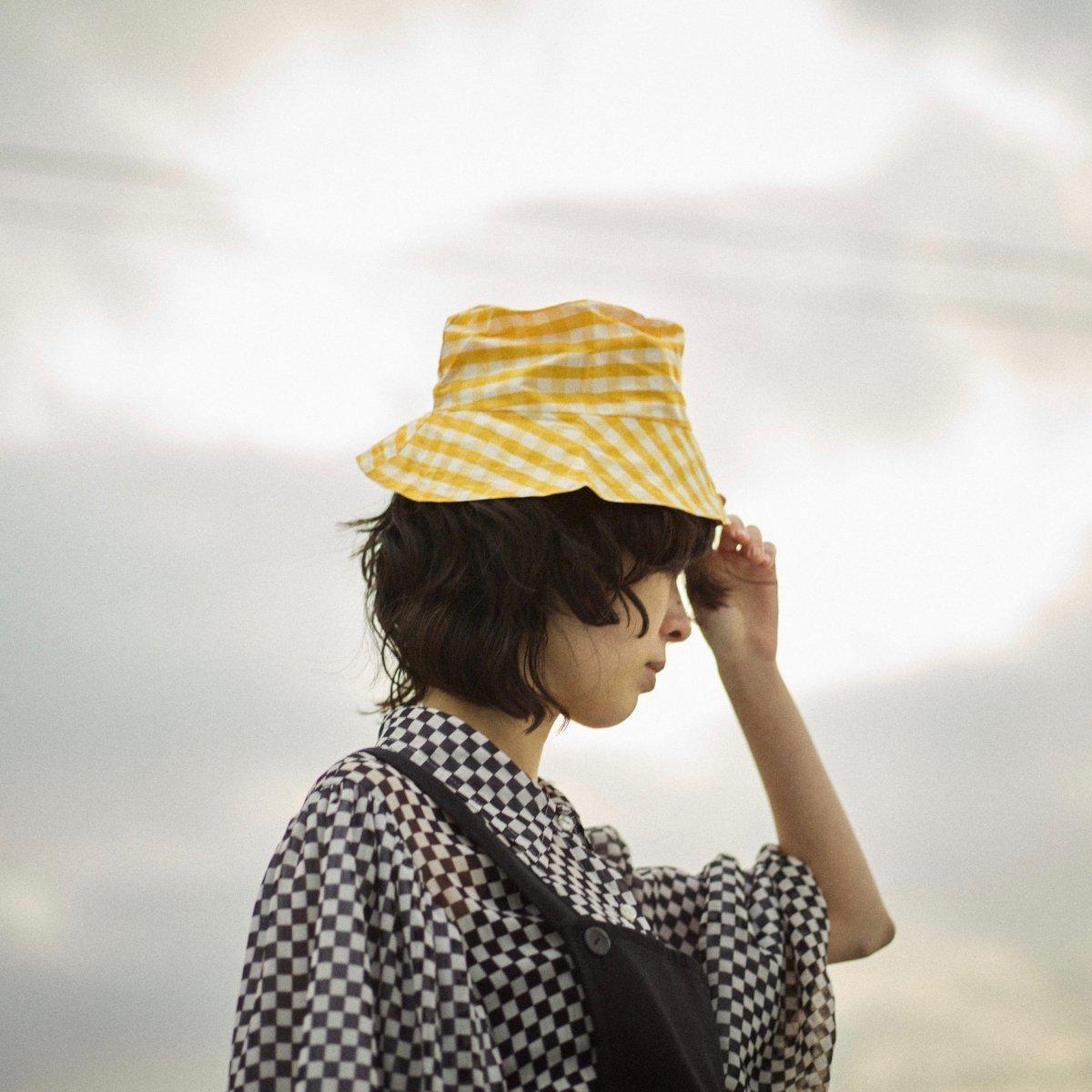 Gingham Yellow Silk Hat by PALMA DE ALMA