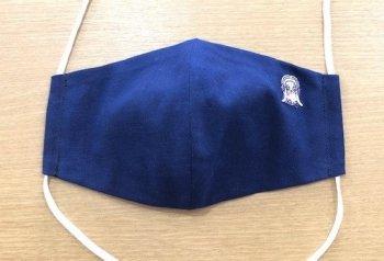 刺繍入りマスク 紺(あまびえちゃん ピンク)Rサイズ