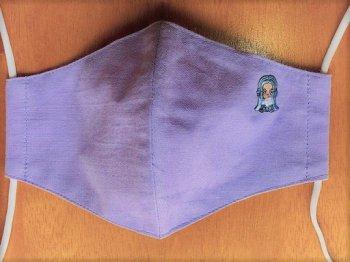 刺繍入りマスク ラベンダー(あまびえちゃん 水色)Rサイズ