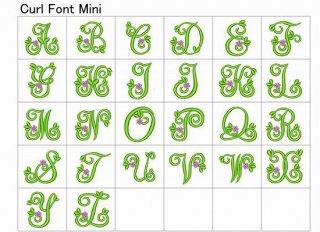 【刺繍データダウンロード】Curl Font -Mini-