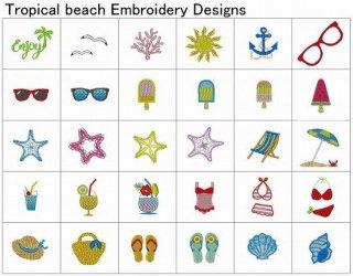 【刺繍データダウンロード】Tropical beach Embroidery designs