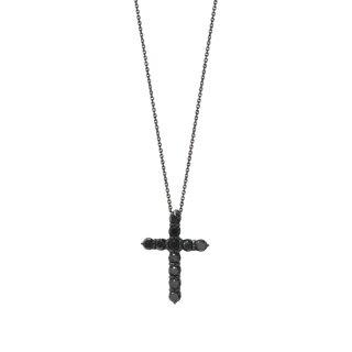 04 K18WG ブラックダイヤネックレス