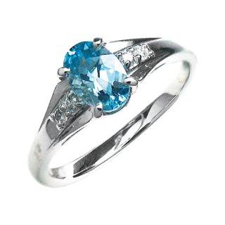 14 K18WG アクアマリンダイヤリング