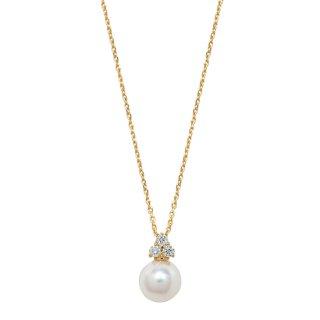 K18YG アコヤ真珠ダイヤモンドネックレス