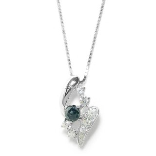 K18WG ブラックダイヤモンドネックレス