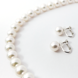 「花珠」アコヤ真珠 ネックレス&イヤリングセット 8.5mm~9.0mm珠[鑑別書付]