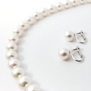 「花珠」アコヤ真珠 ネックレス&イヤリングセット 7.5mm~8.0mm珠[鑑別書付]