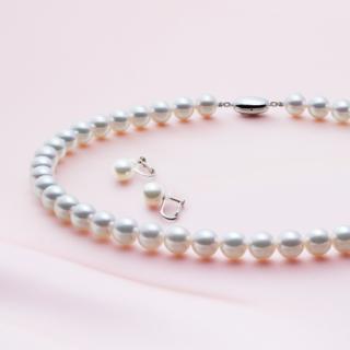 [鑑別書付オーロラ天女]9.0mm~9.5mm珠 アコヤ真珠 パールネックレス&イヤリングセット