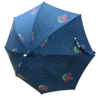 日傘 (インディゴ / indigo)藍色に六甲や花弁模様