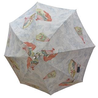 日傘 (アイボリー/ivory)象牙色に扇子模様