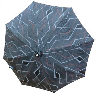 日傘 (インディゴ / indigo)藍色に稲光や菱形模様