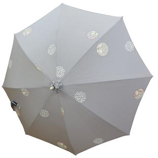 日傘 (ライトグレー / lightgray)明るい灰色に水玉模様
