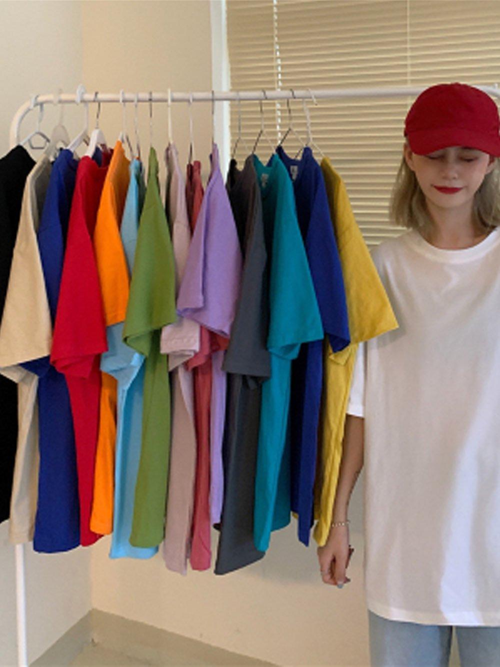 【広州仕入れ】無地コットン半袖 カラーTシャツ お洒落な15色♪