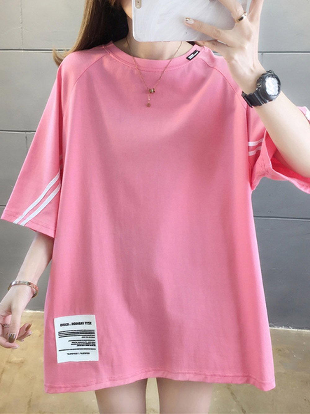 【広州仕入れ】パッチデザイン半袖Tシャツ