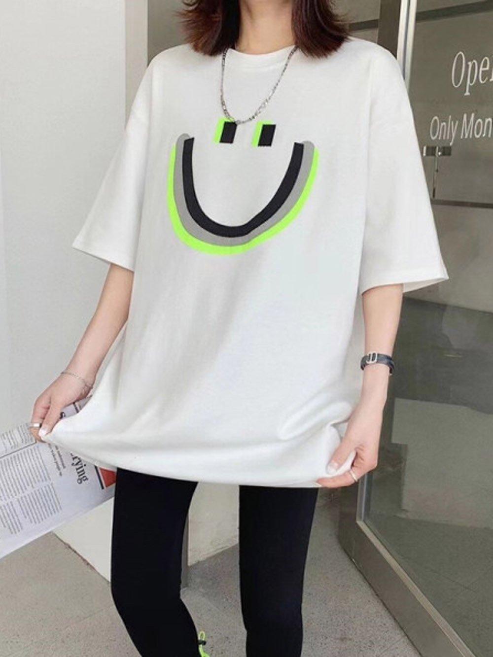 【広州仕入れ】スマイル両面プリント半袖Tシャツ