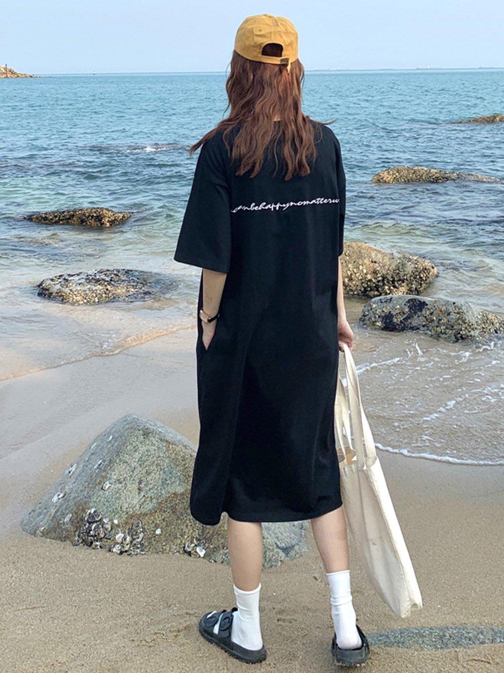 【広州仕入れ】英字ポイント刺繍Tシャツワンピ