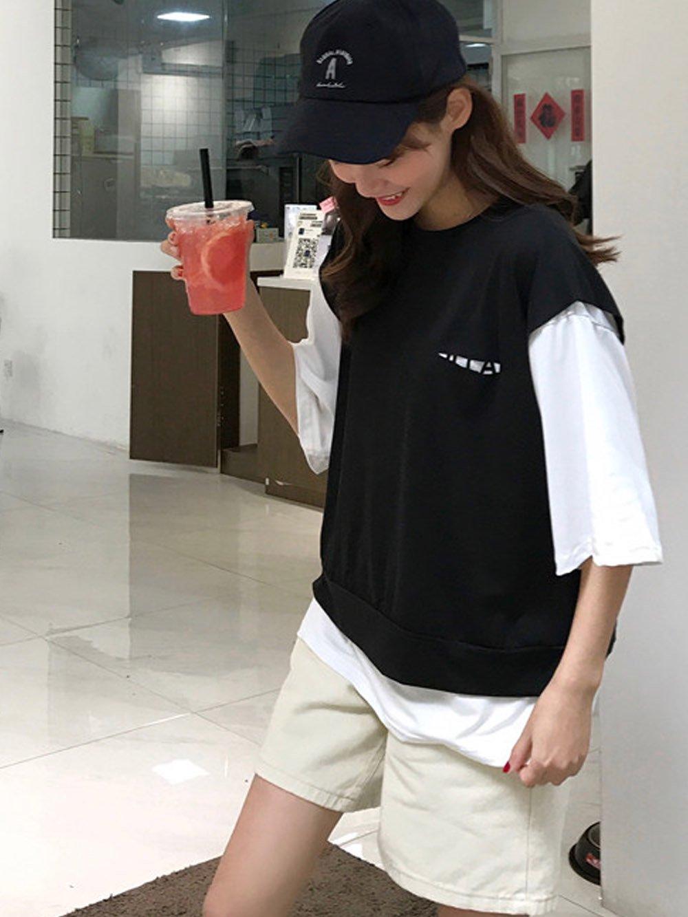 【広州仕入れ】レイヤード風デザインシャツ