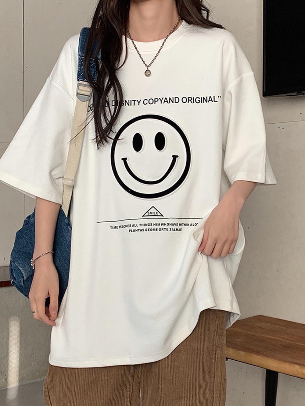 【広州仕入れ】モノトーンスマイル半袖Tシャツ【5枚】@612