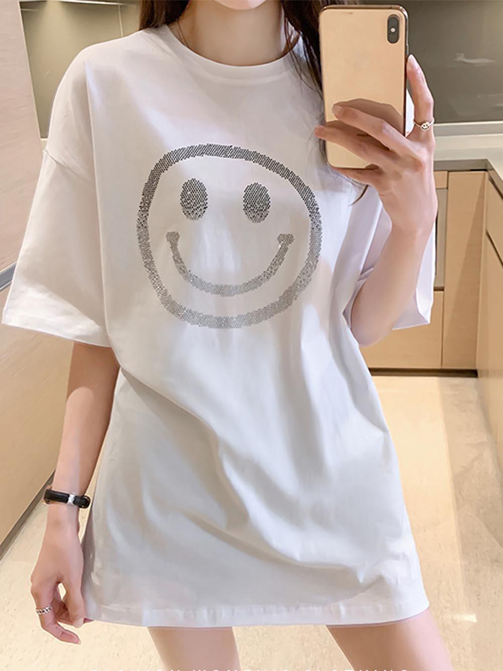 【広州仕入れ】半袖Tシャツ にこちゃんラインストーン