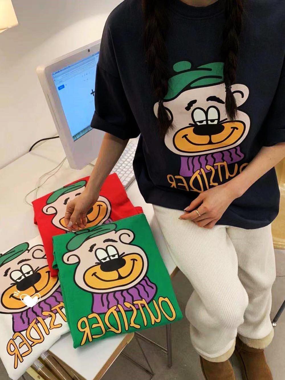 【広州仕入れ】ベアプリント半袖Tシャツ【5枚】@561