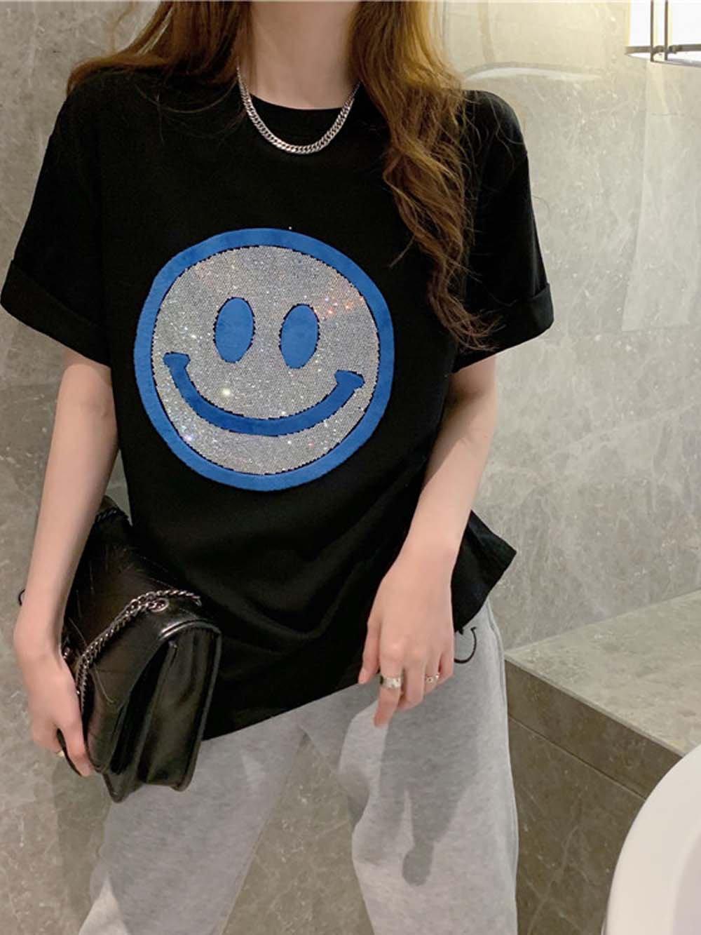 【広州仕入れ】スマイルフェイスコットンTシャツ