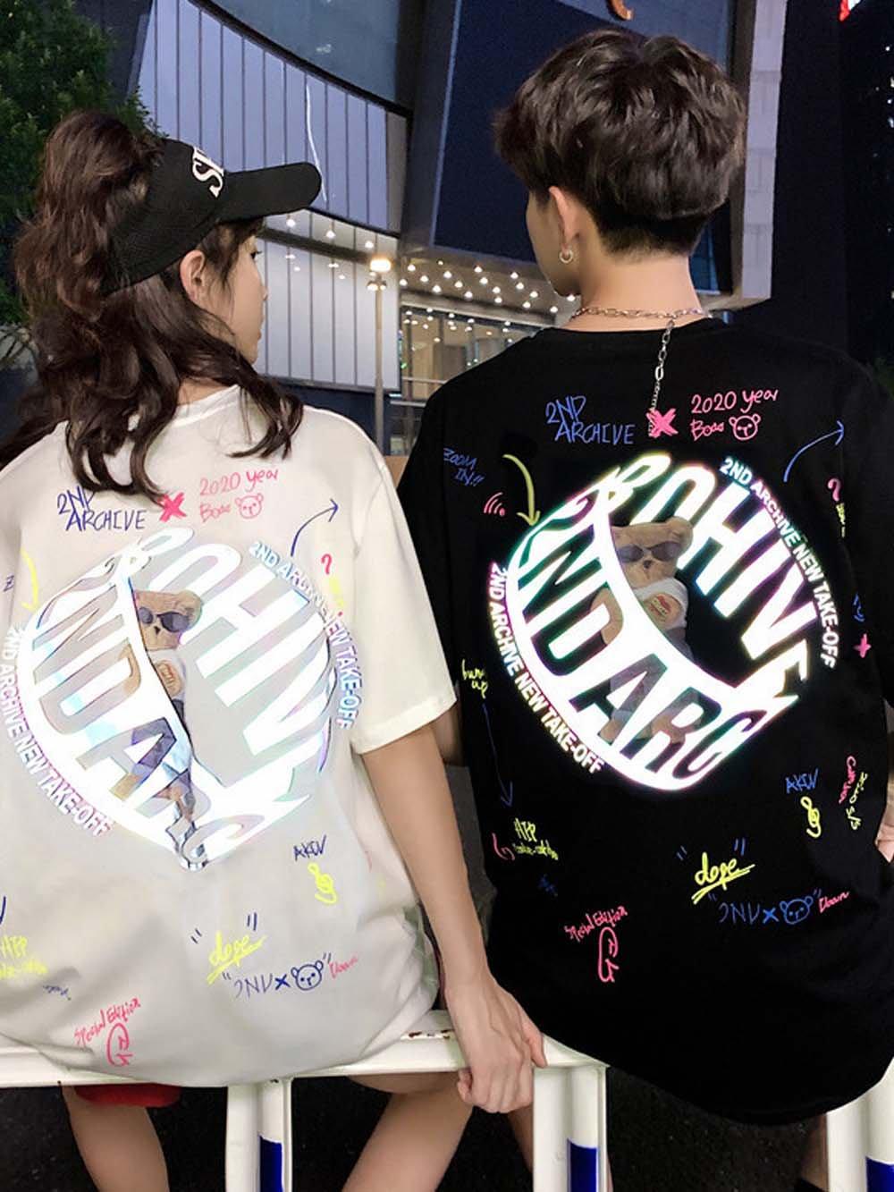 【広州仕入れ】バックプリント ベアー半袖Tシャツ