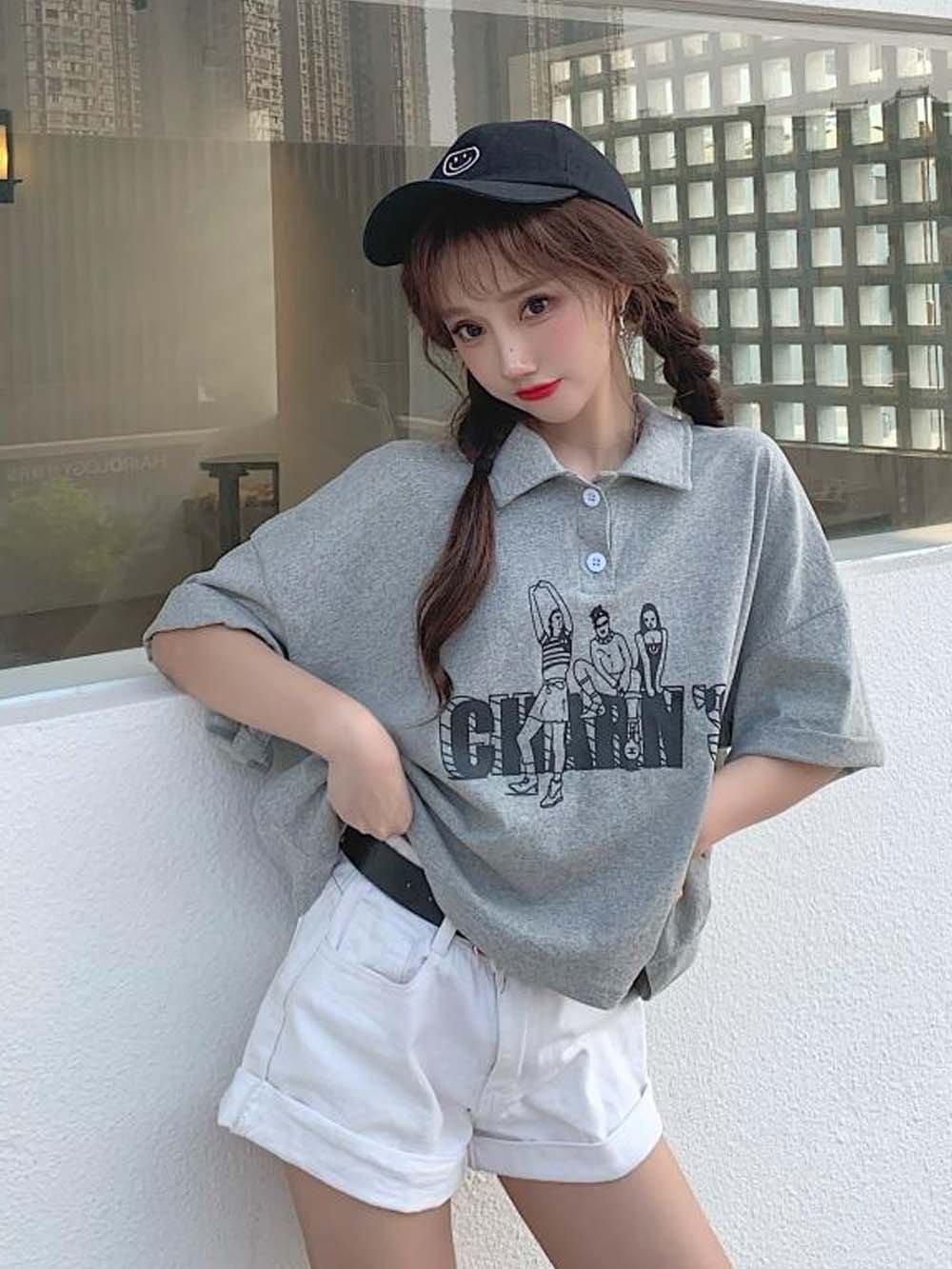 【広州仕入れ】ルーズプリント半袖ポロシャツ