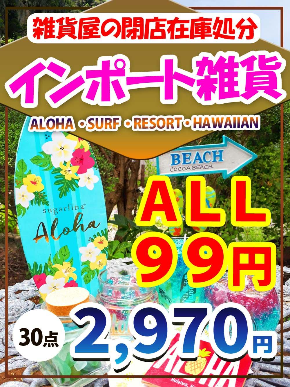 【インポート雑貨】雑貨屋の閉店在庫処分!ALOHA ・SURF ・RESORT・HAWAIIAN 系雑貨【30点】@99