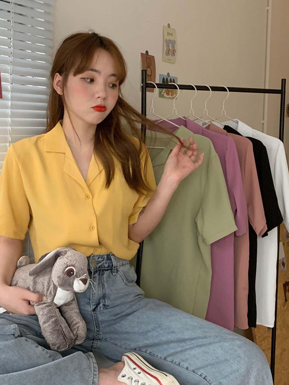 【広州仕入れ】ショート丈シンプルカラーシャツ