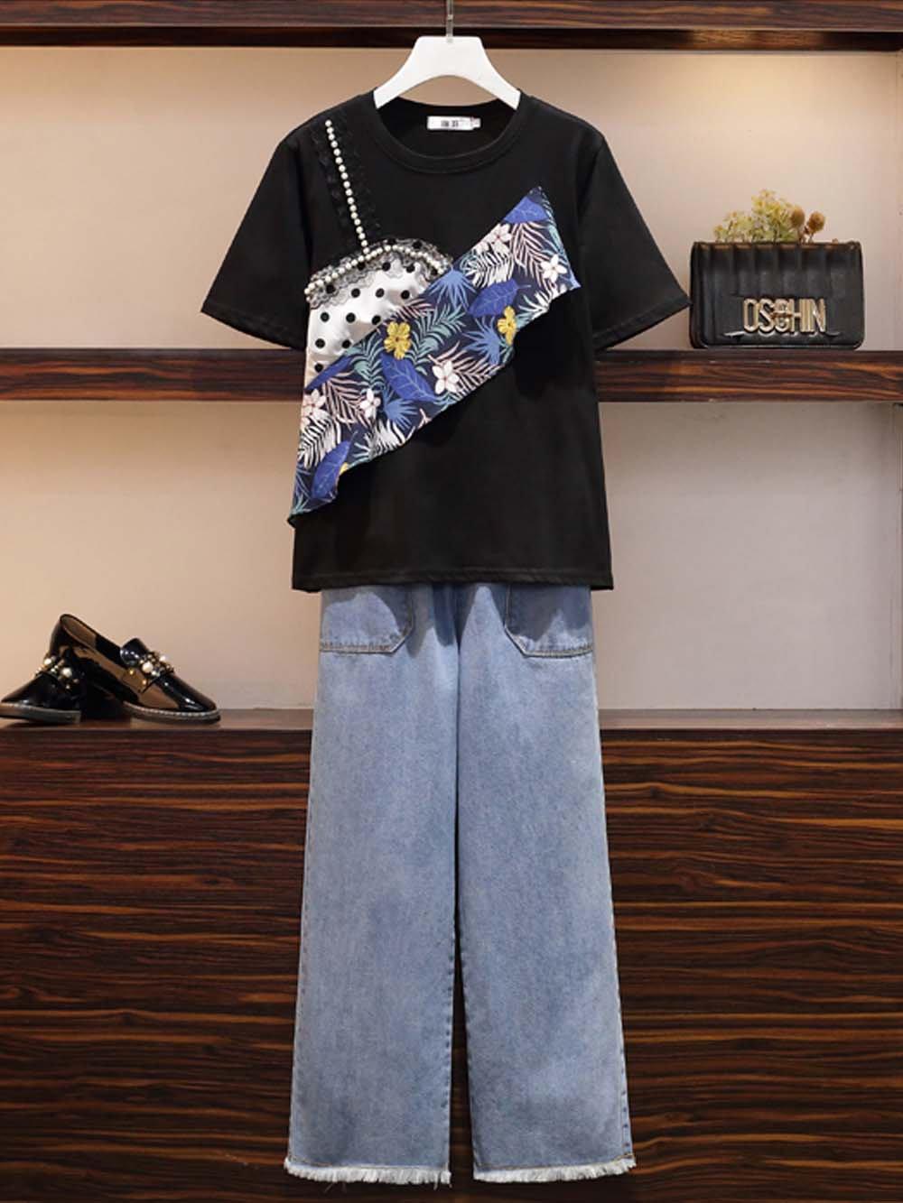 【広州仕入れ】デザインTシャツ&デニム上下セット