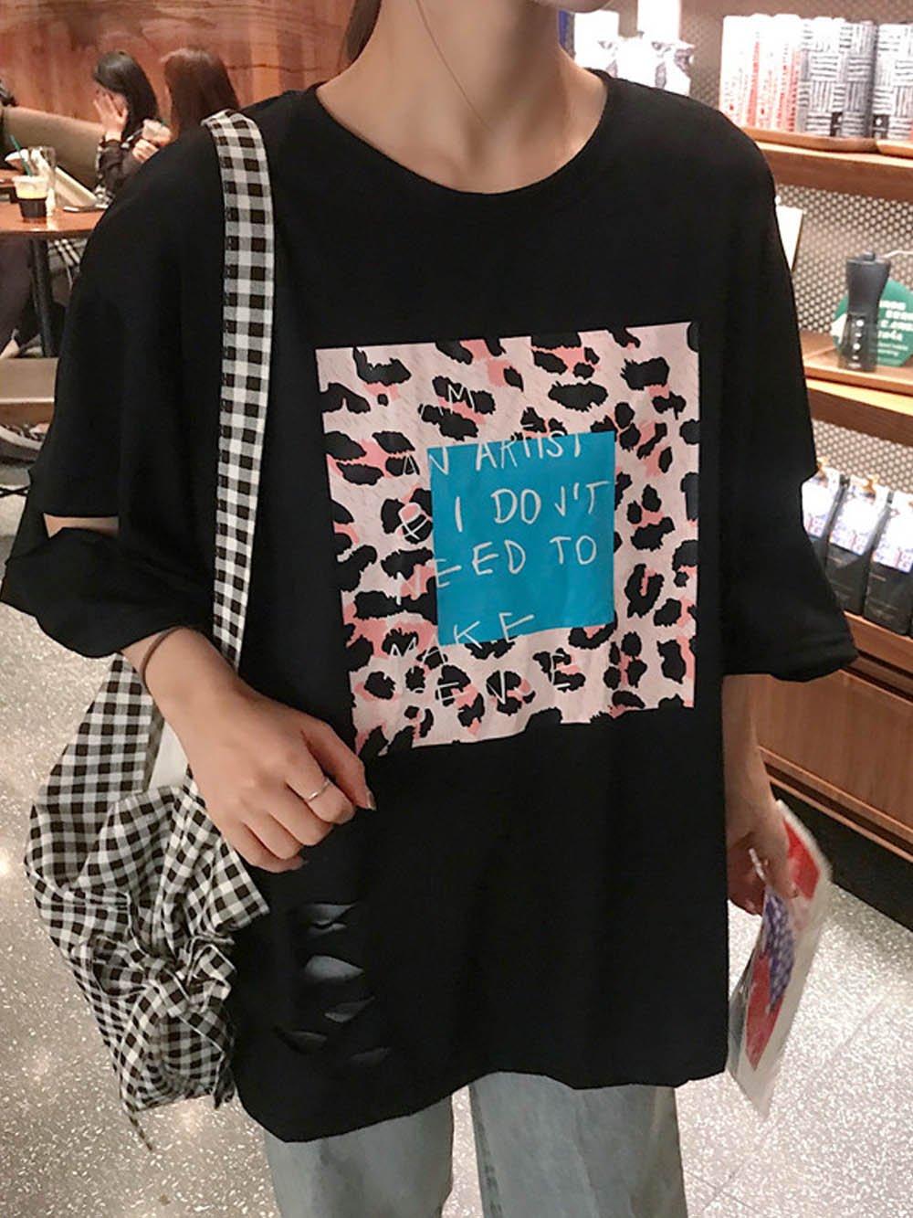 【広州仕入れ】レオパード手書き英字プリントTシャツ