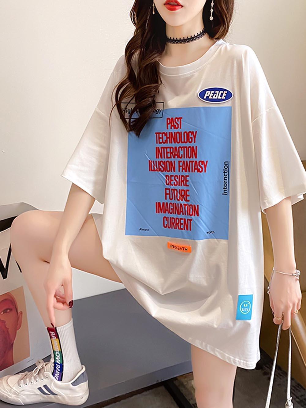 【広州仕入れ】ワッペン英字デザインTシャツ