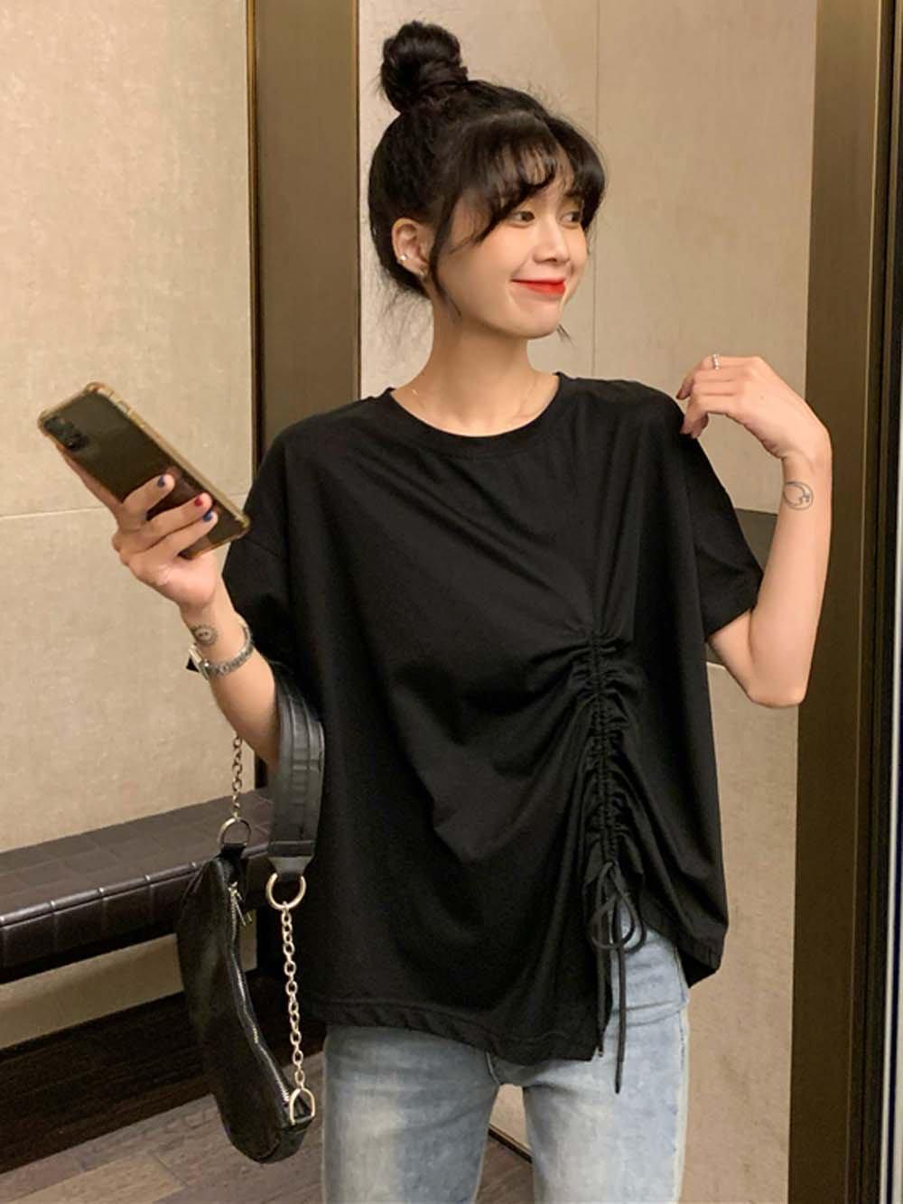 【広州仕入れ】ギャザーデザイン半袖Tシャツ