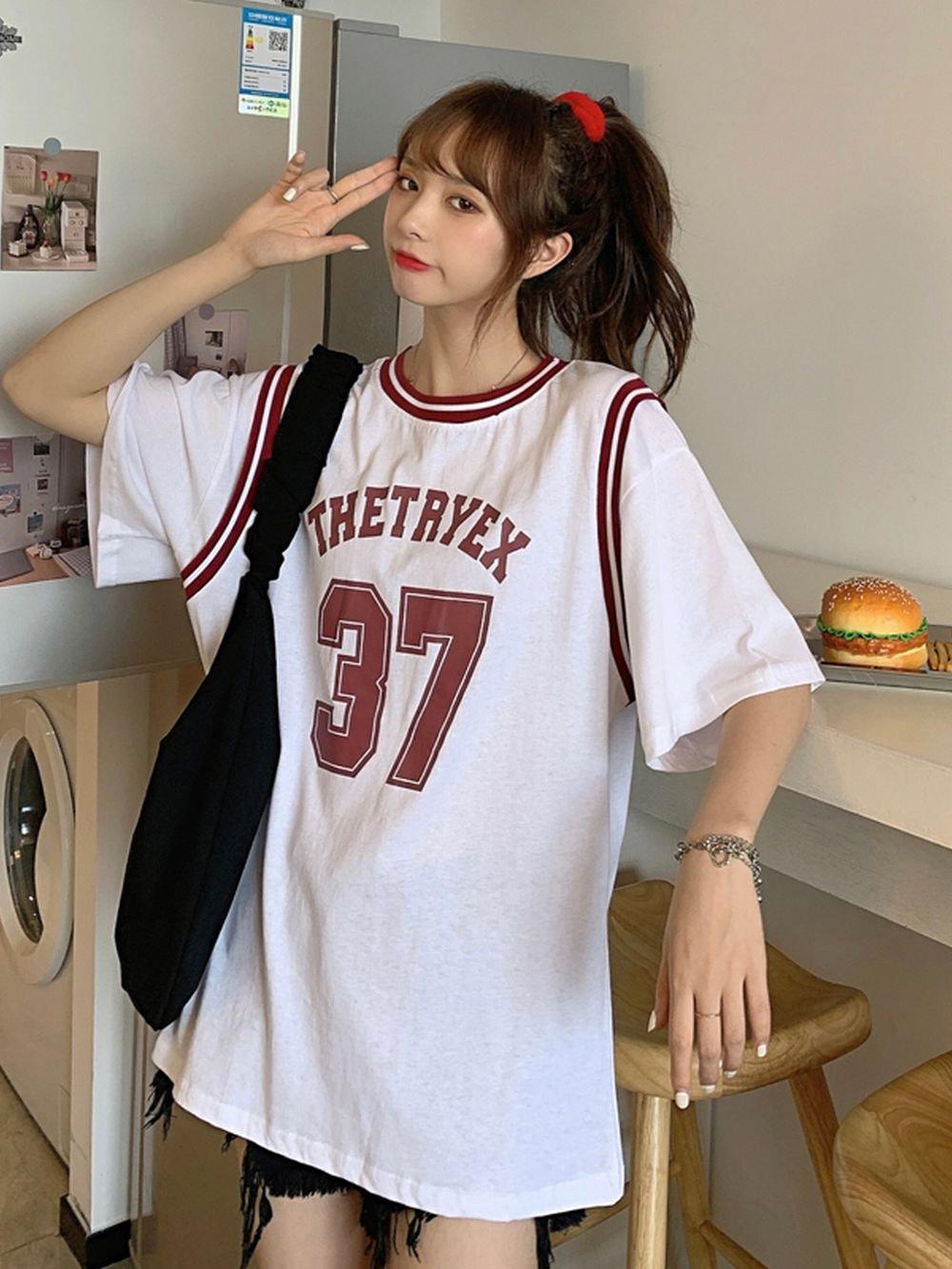 【広州仕入れ】フェイクツーピース半袖バスケット Tシャツ