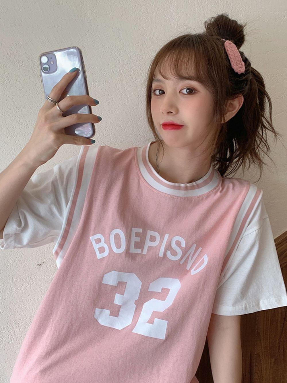 【広州仕入れ】フェイクツーピースベスト半袖 Tシャツ