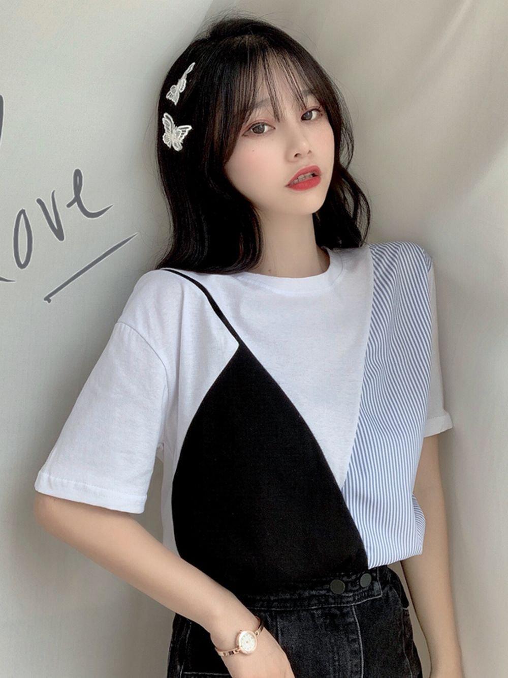 【広州仕入れ】フェイクツーピース半袖Tシャツ