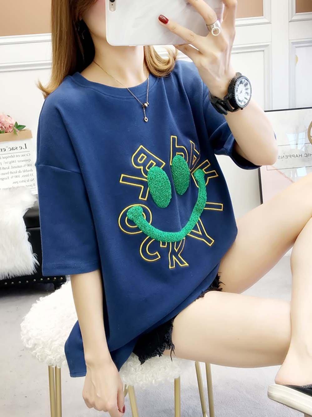【広州仕入れ】スマイル×英字ロゴ半袖Tシャツ