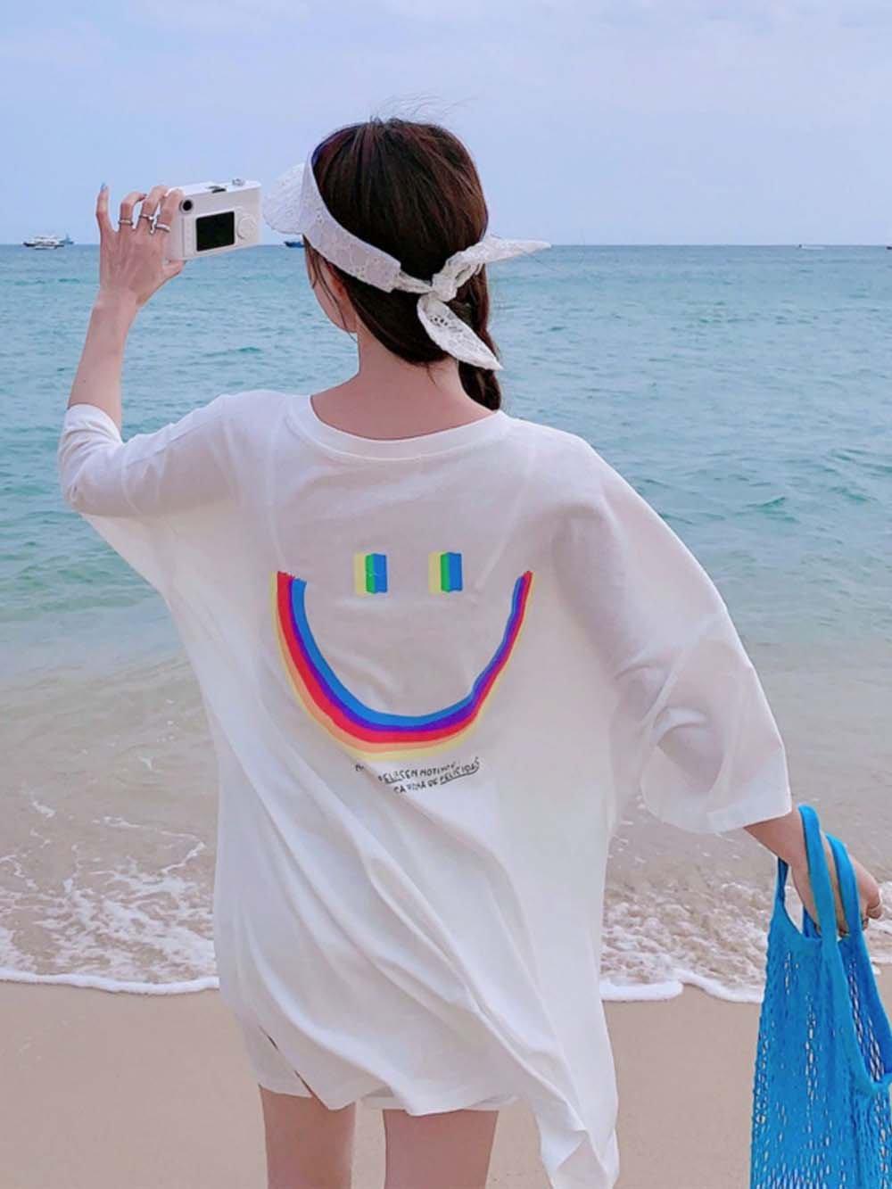 【広州仕入れ】レインボースマイルTシャツ
